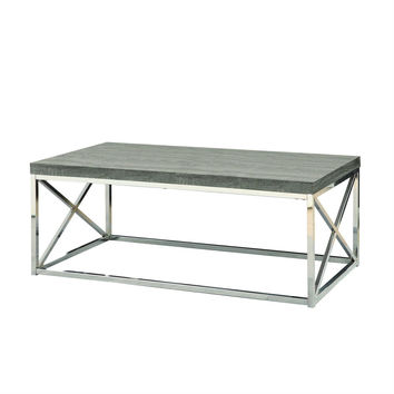modern coffee table with chrome metal frame dark tape wood top