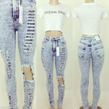 High Waisted Blue Acid Wash Distressed Ripped Jeans All Sizes Made in USA