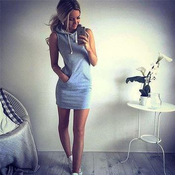 New Fashion Women Sleeveless Hoodies Dress Pockets Casual Women Clothing Package Hip Dress