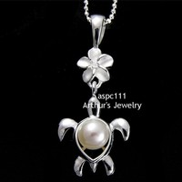 SILVER 925 HAWAIIAN PLUMERIA FLOWER DANGLE HONU TURTLE FRESH WATER PEARL PENDANT