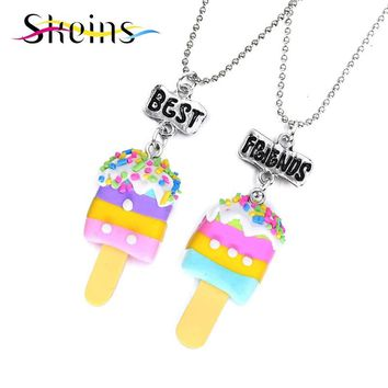 Skeins BFF Jewelry 2pcs/Set Best Friends Charm Soft Ceramics Popsicle Pendants Necklace Food jewelry For Kids Ice-Cream Necklace