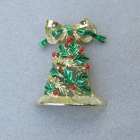 Christmas Pin Vintage Signed GERRY'S Dangle Green Enamel Holly Bell