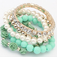 Fashion Jewelry 2015 Trendy Fashion Candy Color Pearl Rose Flower Multilayer Charm Bracelet & Bangle For Women girl lady