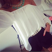 Off Shoulder Loose Long Sleeves Chiffon Blouse Top
