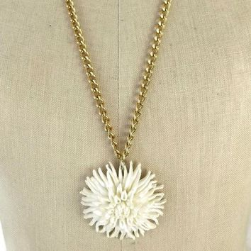"Featherlite Chrysanthemum Necklace, Vintage ""Carved"" Celluloid Flower Pendant, Mid Century Vintage Jewelry"