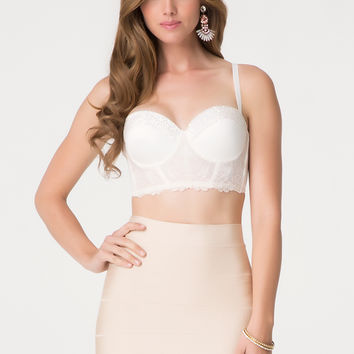 bebe Womens Rosalie Beaded Bustier Bra Cream