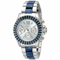 Invicta 18869 Women's Angel Collins Blue Swarovski Crystal Bezel Steel & Plastic Bracelet Watch