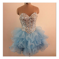 Cute handmade short beaded 2014 prom dress / ball gown/Evening Dress/Evening Gown/Prom Gown