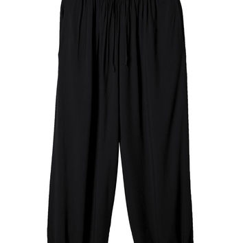 Casual Women Solid Drawstring High Waist Baggy Palazzo Pants