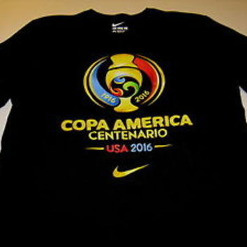 COPA AMERICA Centenario US 2016 Soccer Tournament Black Nike T-Shirt Nice MEDIUM