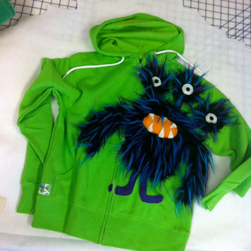 Three eyed monster sweatshirt hoodie by SoSoHippo on Etsy