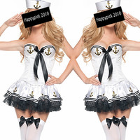 Hot Halloween Costume Uniform Sailor Cosplay Xmas Sexy Mini Dress Hat Outfit 12N