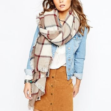 New Look Mink Red Large Check Scarf at asos.com
