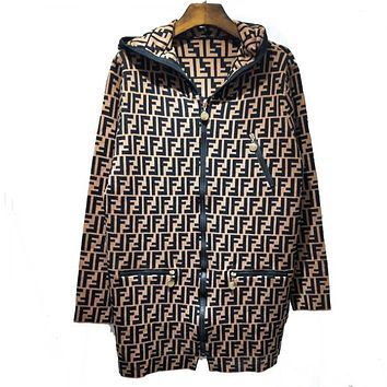 Fendi New fashion more letter print knit hooded long sleeve sweater coat Coffee