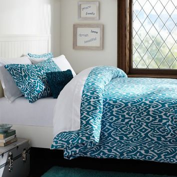 Urban Ikat Organic Duvet Cover + Pillowcases, Sea Blue
