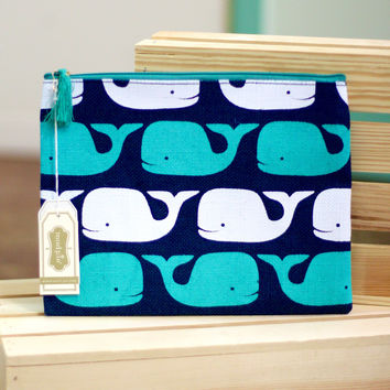 Whales Carry All Bag {Navy + Turquoise}