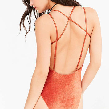 Out From Under Strapped Up Velour Bodysuit - Urban Outfitters