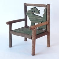 Rustic wooden chair Christmas Santa display furniture