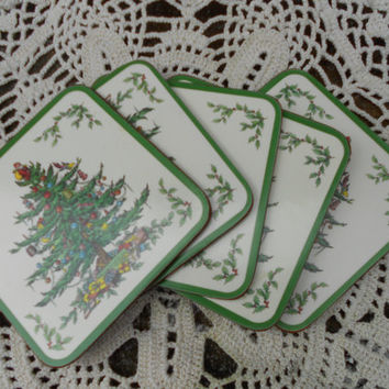 SET OF 5 Spode Christmas Tree Coasters from Pimpernel of England Coasters - Square Coasters Holiday Tableware - Decor