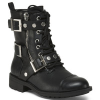 Triple Buckle Lace Up Moto Booties - Boots - T.J.Maxx
