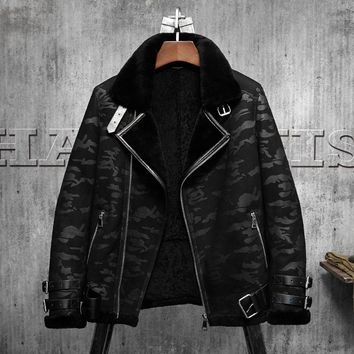 Black Camouflage B3 Jacket Men's Shearling Leather Jacket Original Flying Jacket  Men's Fur Coat Aviation Leathercraft Pilots