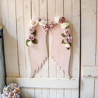 Shabby Chic Pink Angel Wings Wall Decor, Pink Wings Nursery Decor with Flowers, Blush Wooden Wings Angel Wings Wall Decor Baby Gift Idea