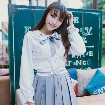 Cute Girls Fish Embroidery Bow Lolita White Blouse Preppy Peter Pan Collar Long Sleeve Shirt Tops