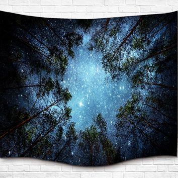 Starry Night in the Forest Tapestry