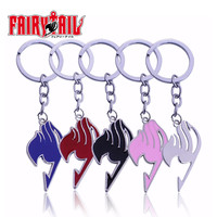 5 Colors Anime Keychain Fairy Tail Keychain Silver Plated Alloy Key Ring 2016 Fashion Jewelry llaveros porte clef Free Shipping