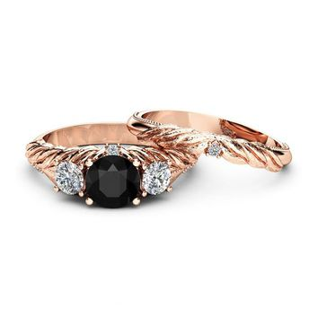 Black Diamond Engagement Ring Set 14K Rose Gold Leaf Engagement Rings Three Diamond Stone Ring with Matching Band