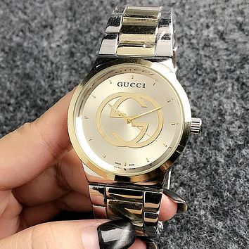 GUCCI New Popular Women Men Business Movement Watch Lovers Wristwatch Silvery/Golden I13213-1