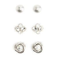 CLUSTERED & KNOTTED STUD EARRINGS - 3 PACK