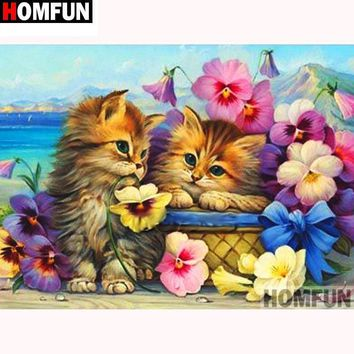 5D Diamond Painting Kittens, Flowers and a Basket Kit