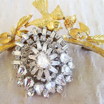 Clear Rhinestone Brooch Baguette Teardrop Prong Set Dome Vintage Jewelry Gift