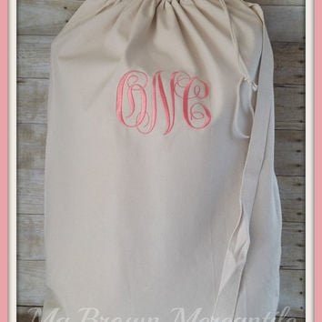 Monogrammed Laundry Bag - Personalized College Laundry Bag - Monogrammed Dorm - Dirty Clothes Bag - Grad Gift - Camp Shoulder Duffle