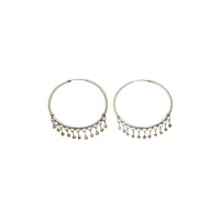 Chand Bali Small Fringe Sterling Silver Hoop Earring