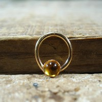 Septum Ring Gold Citrine Gemstone