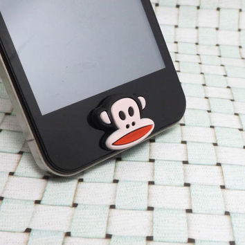 Funny Monkey Cartoon Animal Home Button Sticker for iPhone 3,4/4s,5,ipad 2,3,4,iPod Touch 2,3,4,5