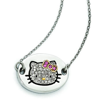Sterling Silver Hello Kitty Pav' Outline Collection Oval Disc Necklace QHK146