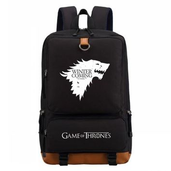 Student Backpack Children WISHOT Game of Thrones Ice and Fire backpack for teenagers Men women's Student School Bags travel Shoulder Bag AT_49_3