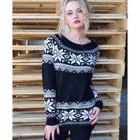 Ice Crystal Black Snowflake Sweater