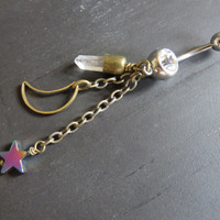 Mystical Quartz Moon Rainbow Star Bullet Rough Raw Natural Clear Crystal Charm Dangle Belly Button Ring Bronze Chain Navel Piercing Jewelry
