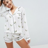 ASOS Peter Pan Embroidered Shirt & Short Pyjama Set in 100% Modal at asos.com
