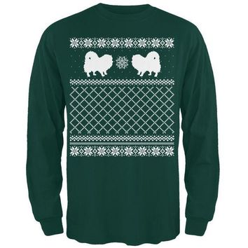 PEAPGQ9 Pomeranian Ugly Christmas Sweater Forest Adult Long Sleeve T-Shirt