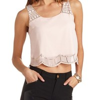 SEQUIN SCALLOP CROP TOP