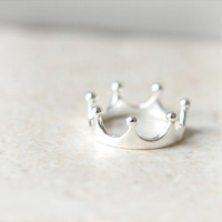 Simple Crown Ring in sterling silver / Adjustable ring