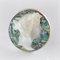 Art Nouveau Abalone Cameo Brooch - Vintage Mother of Pearl Brooch - Natural Blue Green Paua Jewelry - Antique Silhouette Shell Cameo Pin
