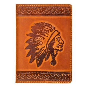 Leather handmade cover for a passport, Handmade cover for documents, Personalized gift, Native American