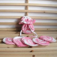 Cotton Crochet Soap Saver and Face Scrubbies Set in Pink and White Swirl, ready to ship.