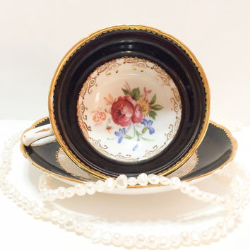Antique Grosvenor English Tea Cup, Bone China, Dark Blue to Black, Hand Painted, Signed, Pink Roses, Lacy Gilding, 1950s